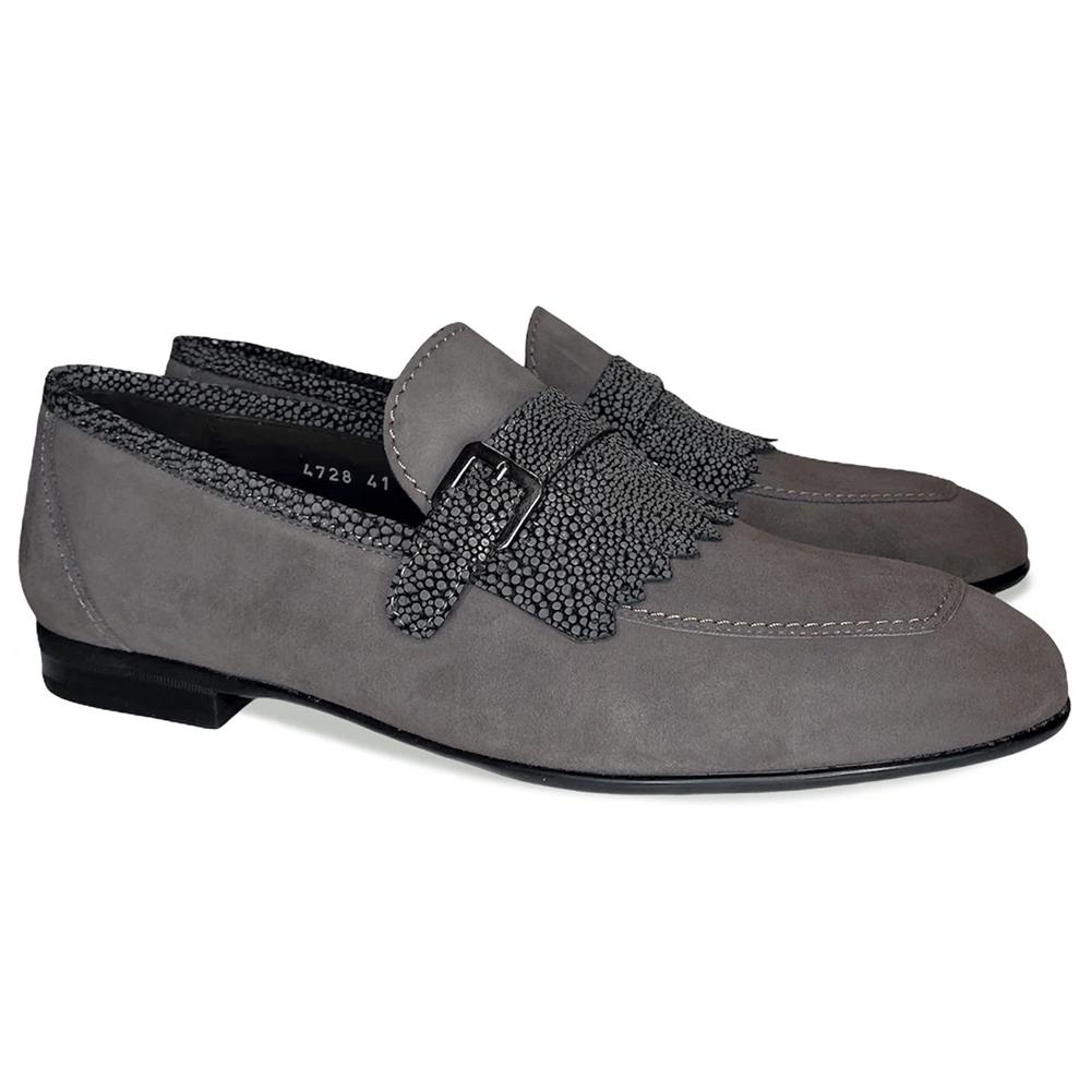 Corrente C026-4728S Suede Kilttie Buckle Loafer Shoes Smoke Image