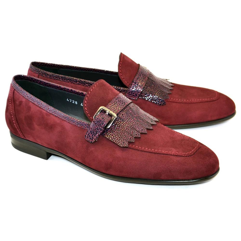 Corrente C027-4728S Suede Kilttie Buckle Loafer Shoes Burgundy Image