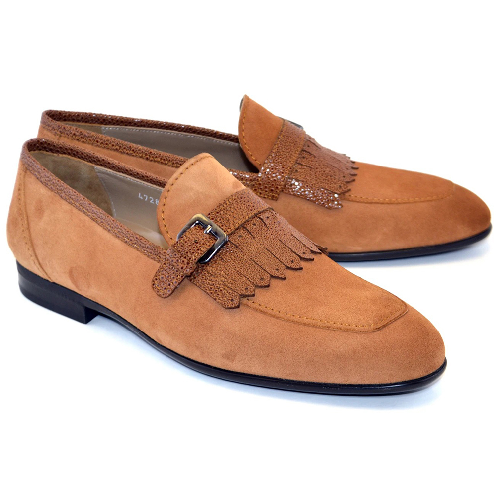 Corrente C028-4728S Suede Kilttie Buckle Loafer Shoes Sugar Cookie Image