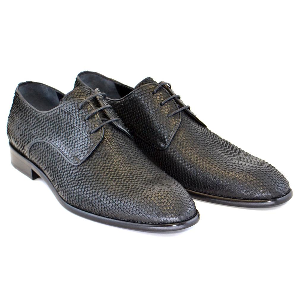 Corrente C112-5596 Python Lace up Shoes Black Image