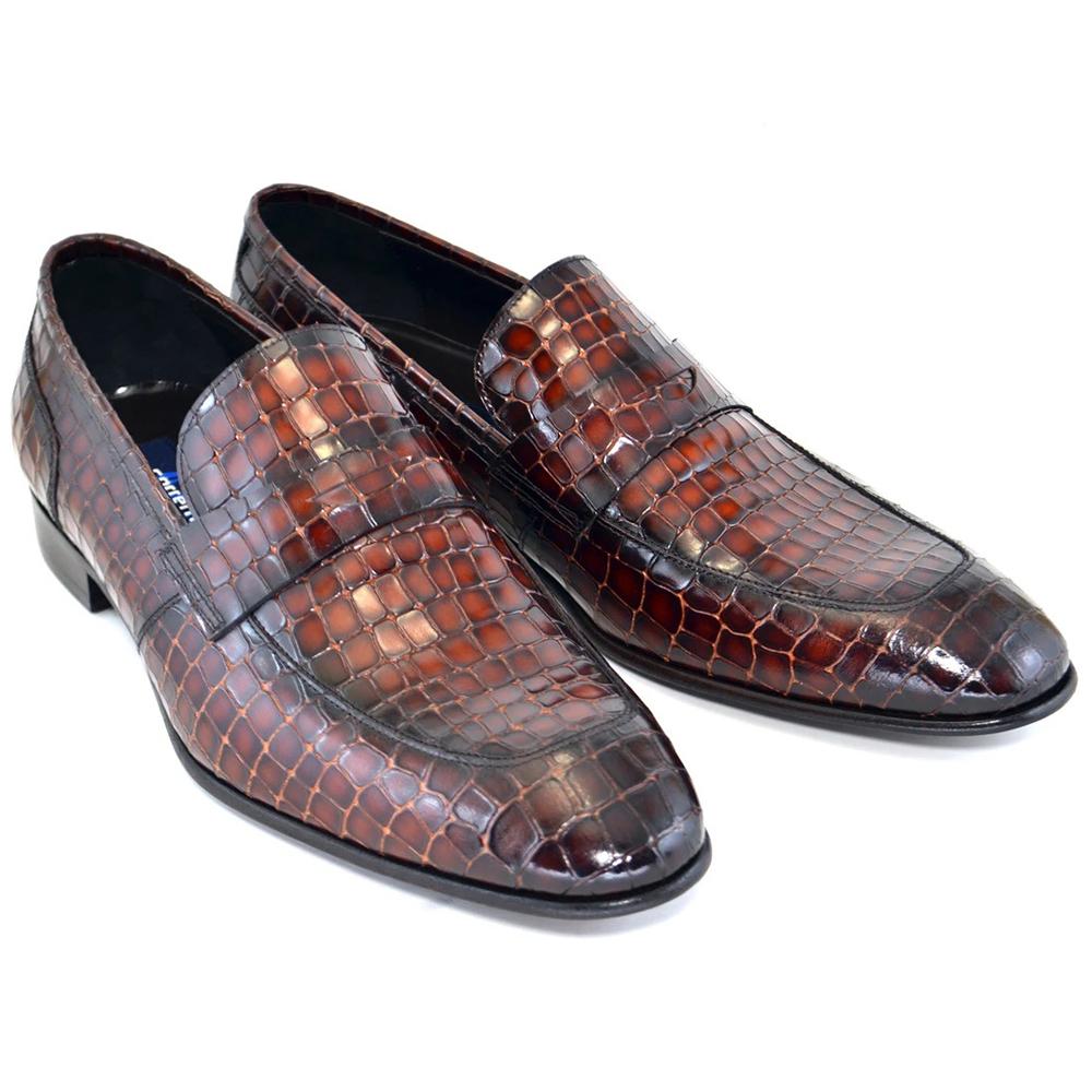 Corrente C124-3470 Croc Leather Loafers Cognac Image
