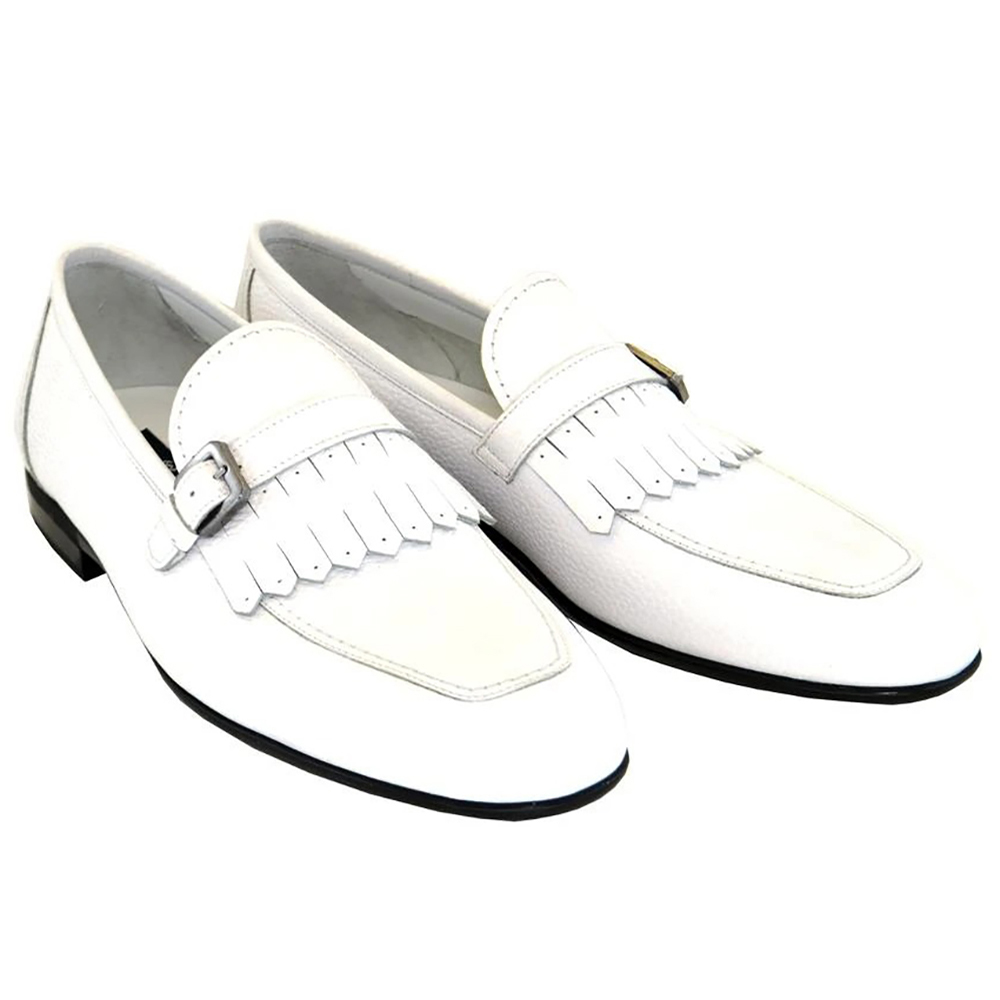 Corrente C168-4728 Kilttie Buckle Loafers White Image