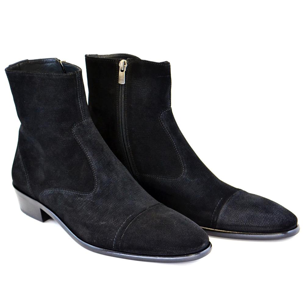 Corrente C191-1547 Suede Cap Toe Side Zipper Boots Black Image