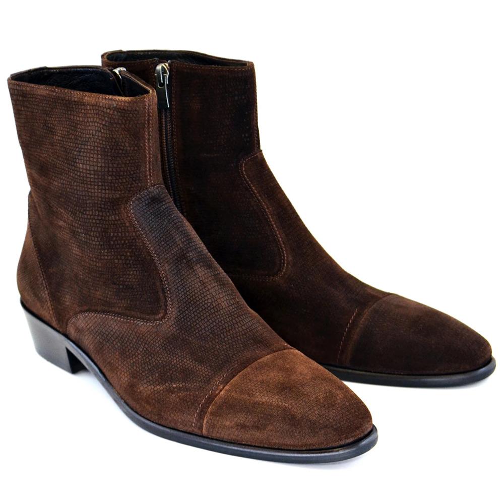 Corrente C192-1547 Suede Cap Toe Side Zipper Boots Brown Image