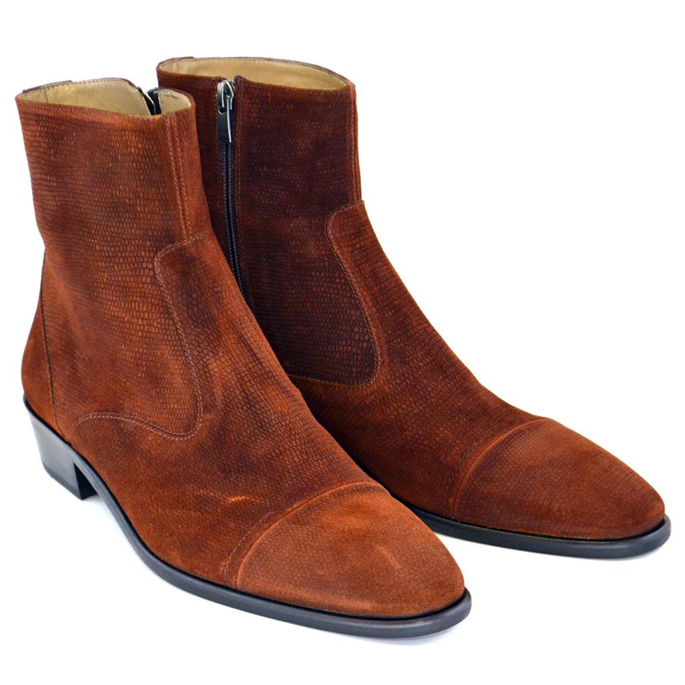 Corrente C193-1547 Suede Cap Toe Side Zipper Boots Tabacco Image