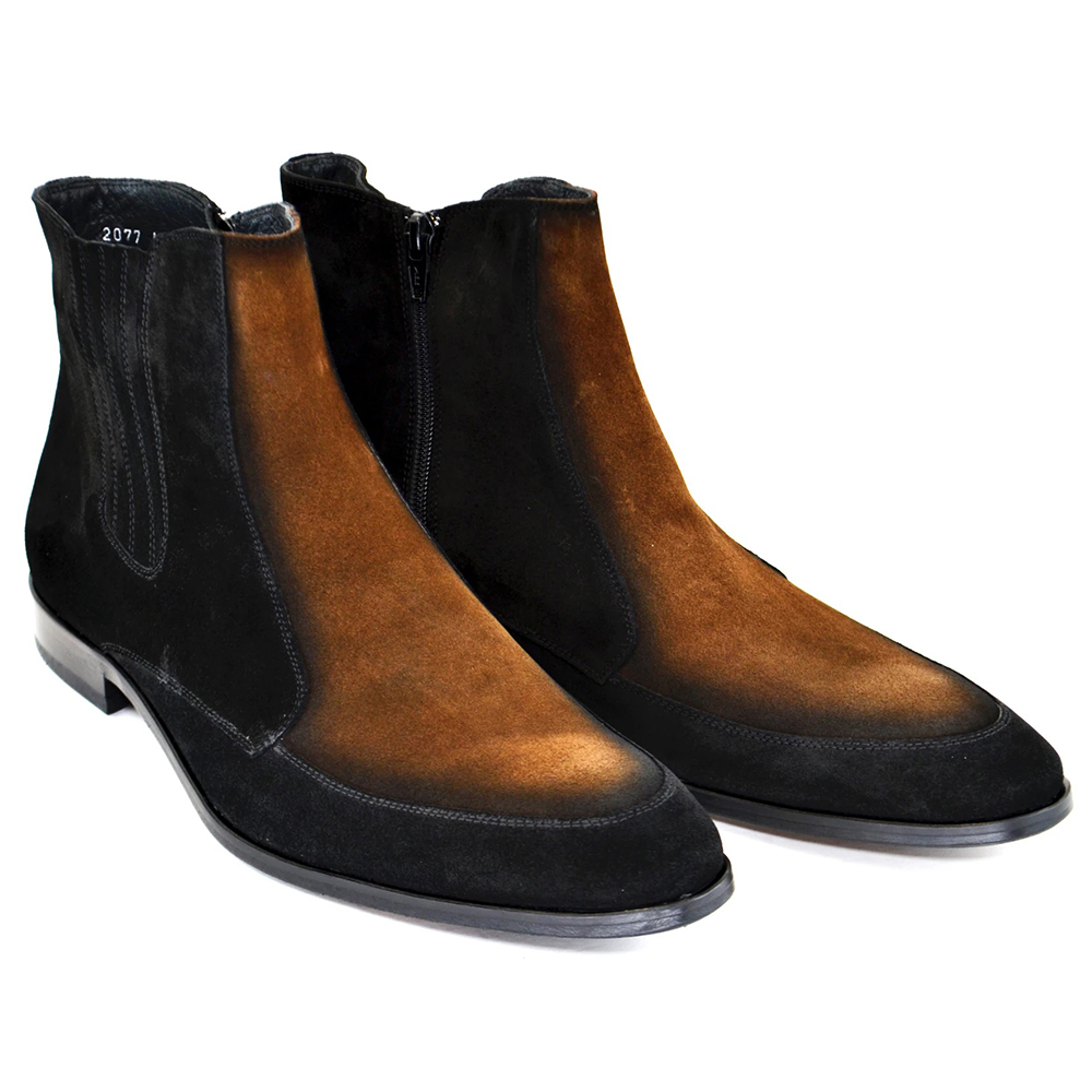 Corrente C199-2077 Two Tone Suede Boots Black Tan Image