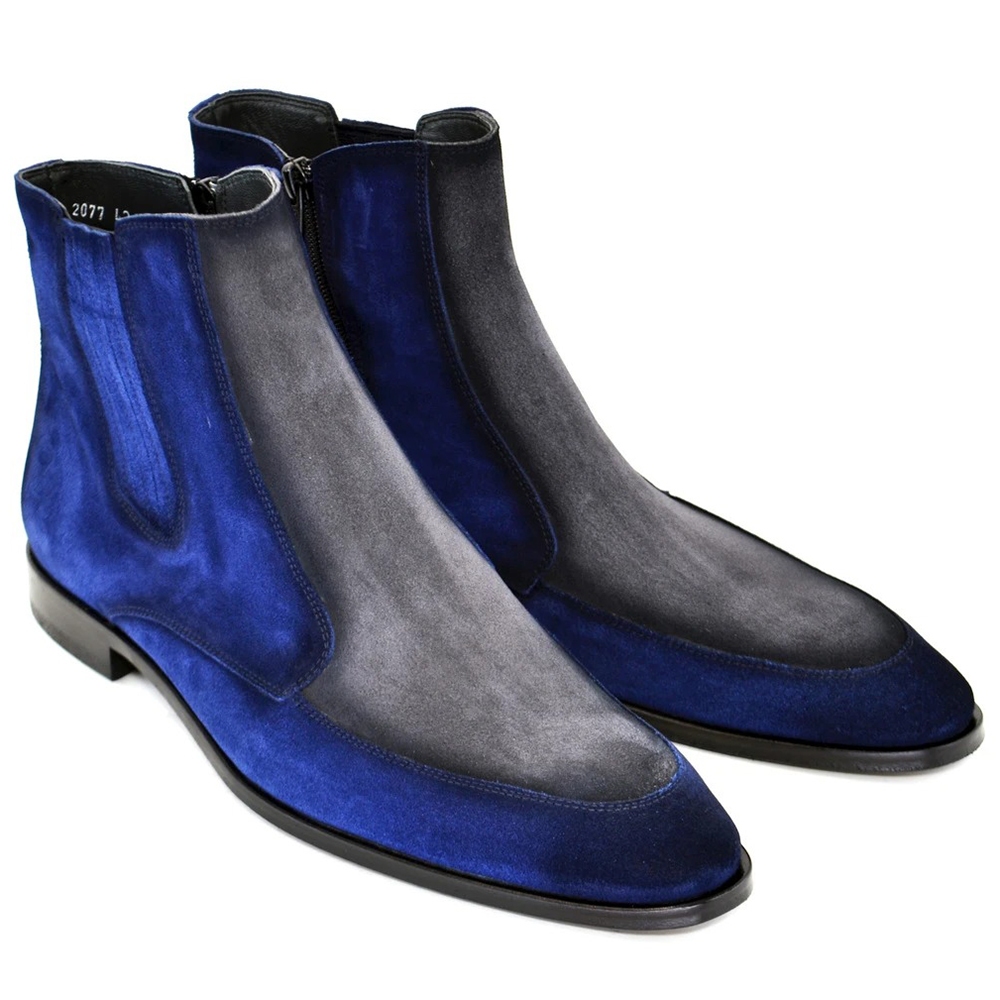Corrente C200-2077 Two Tone Suede Boots Blue Grey Image