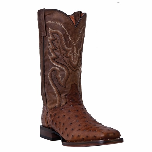 Dan Post Chandler DP2984 Ostrich Quill Boots Brown Image