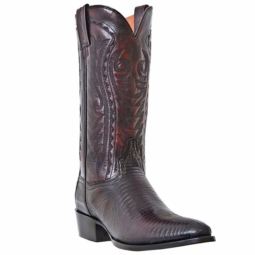 Dan Post Raleigh DP2352R Lizard Western Boots Black Cherry Image
