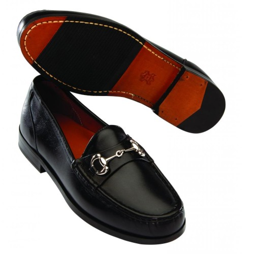 T.B. Phelps LaSalle Smooth Leather Bit Loafers Black Image