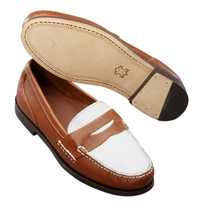 T B Phelps The Shag Spectator Loafers Tan White