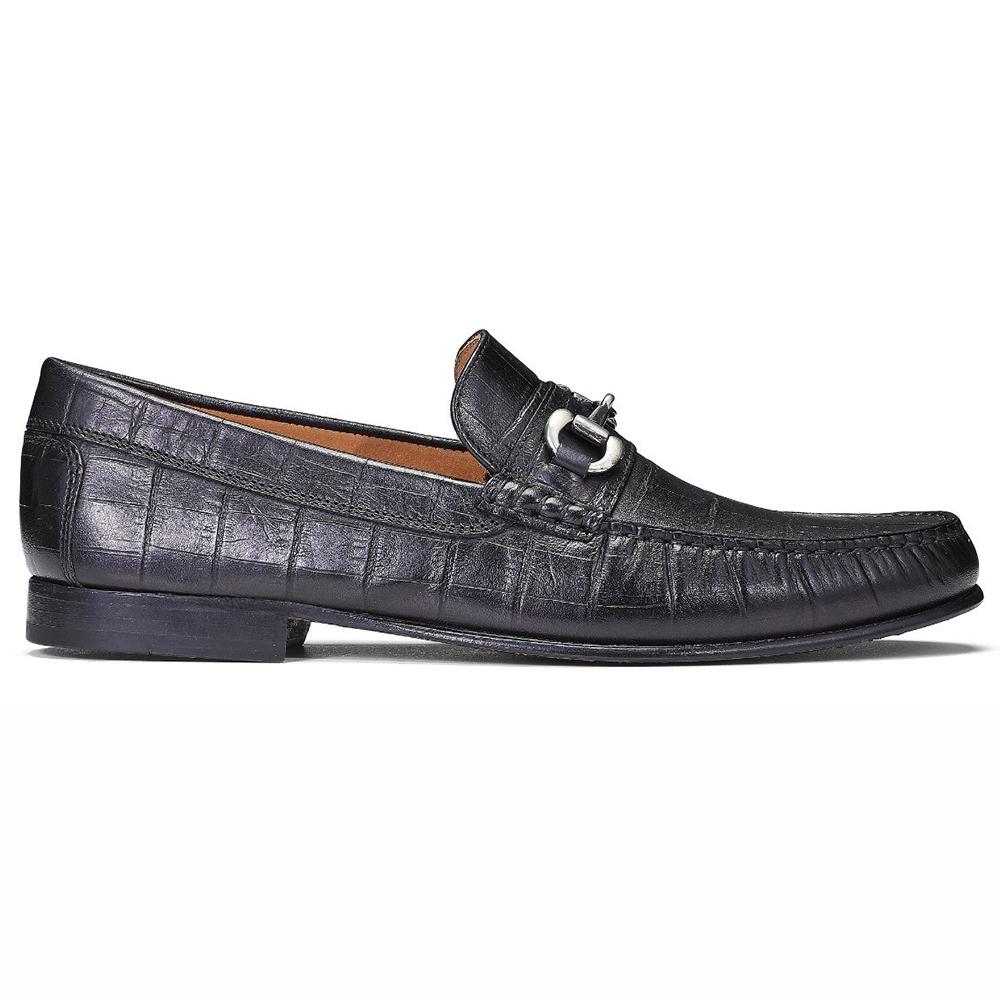 Donald Pliner Clint Brushed Crocco Loafers Black Image
