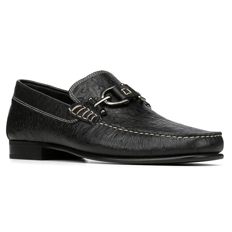 Donald Pliner Dacio Ostrich Embossed Loafer Shoe Black Image