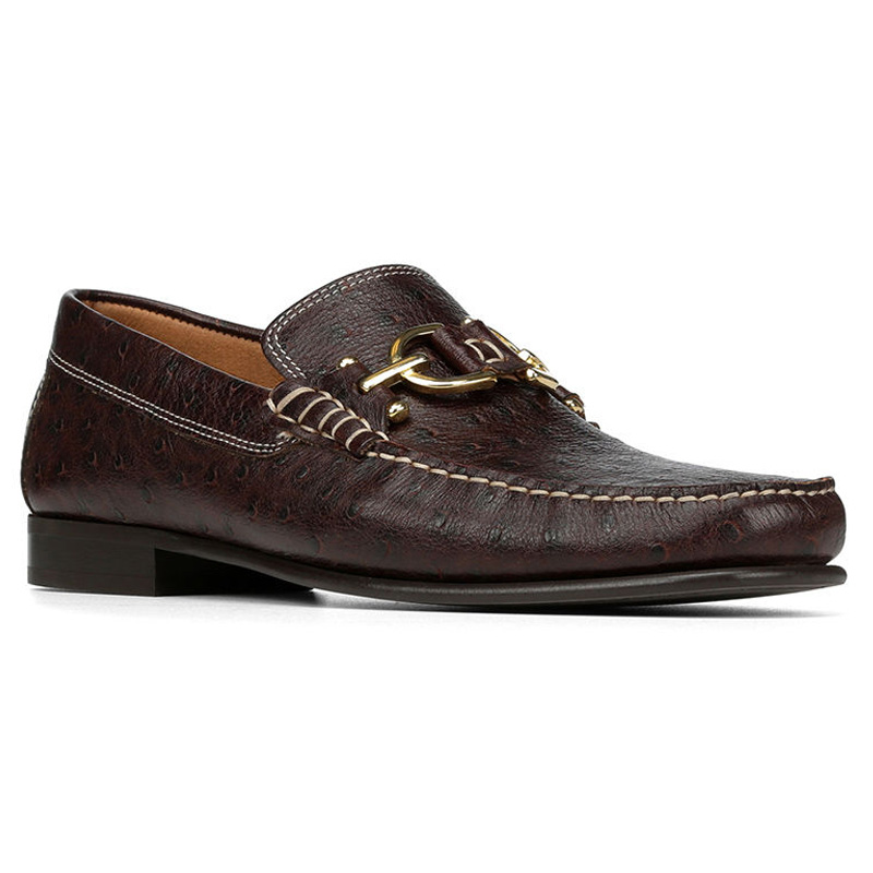 Donald Pliner Dacio Ostrich Embossed Loafer Shoe Brown Image