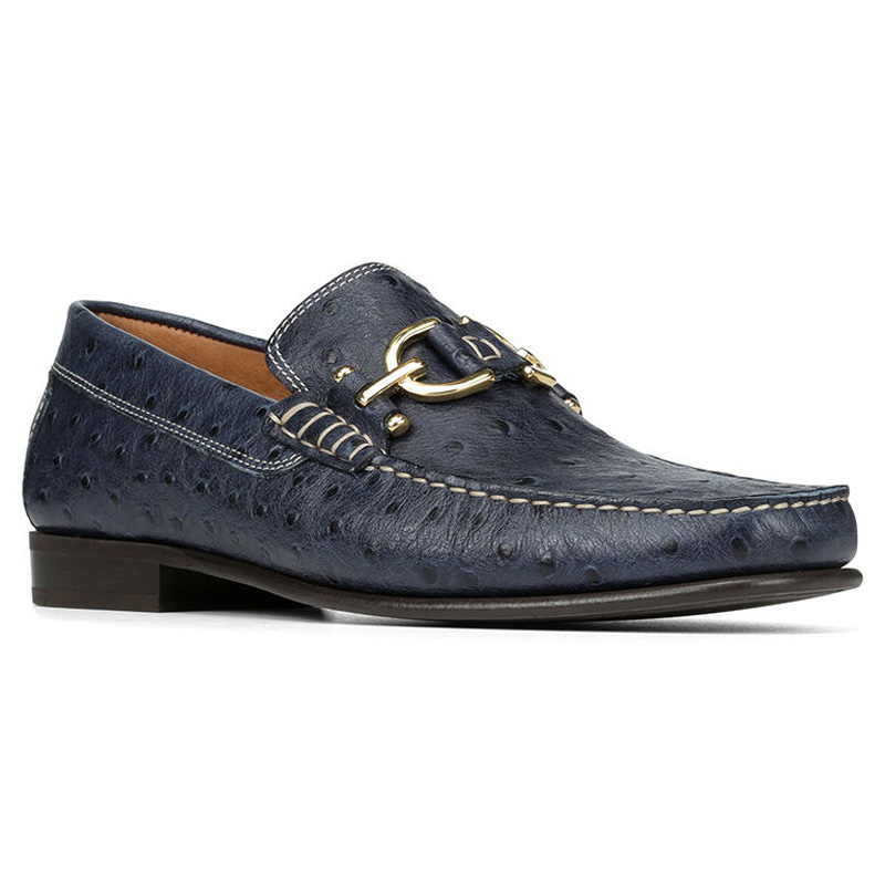 Donald Pliner Dacio Ostrich Embossed Loafer Shoe Navy Image