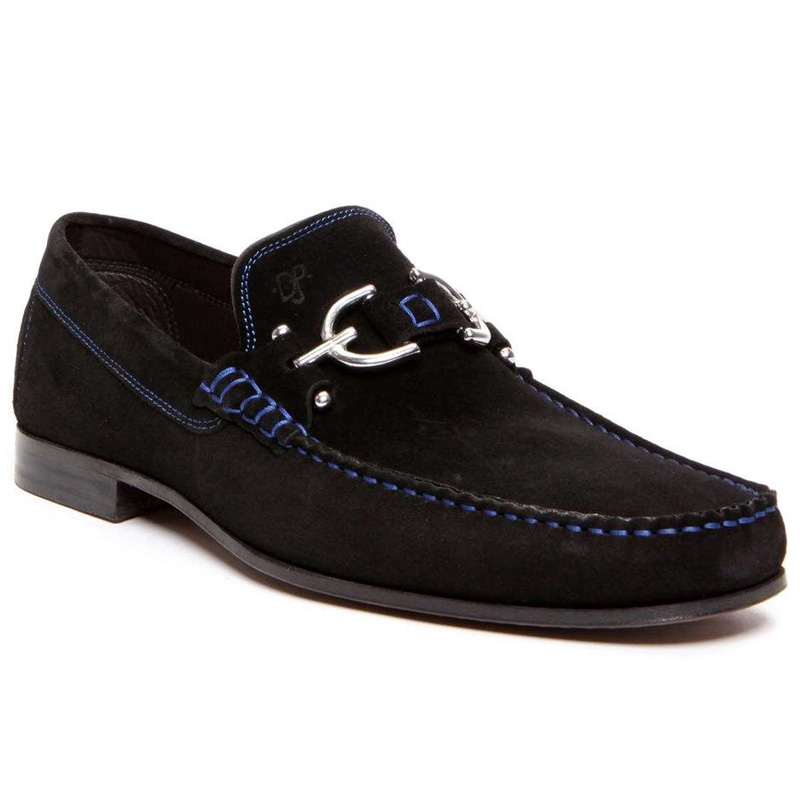 Donald Pliner Dacio Suede Loafer Shoe Black Image