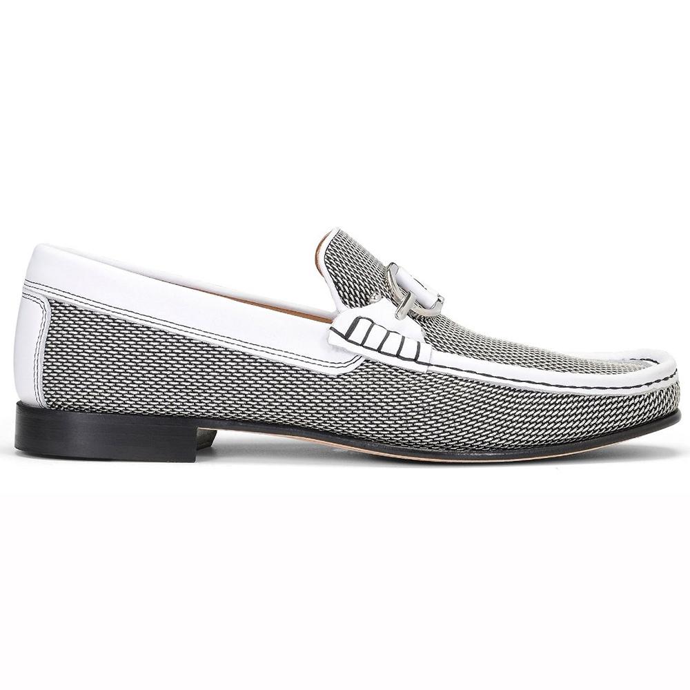 Donald Pliner Dacio Woven Leather Loafers Black / White Image