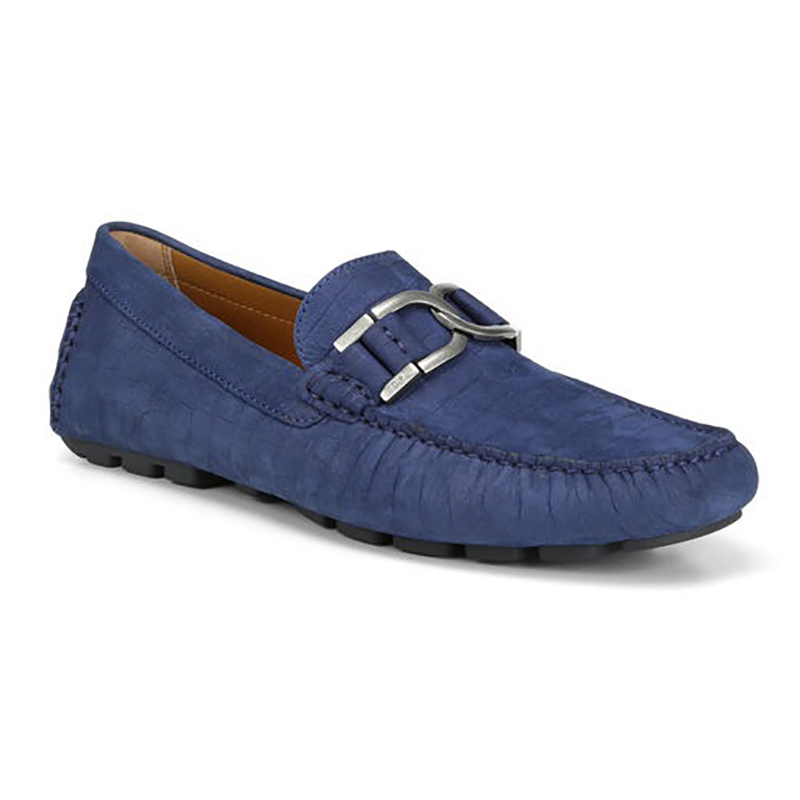 Donald Pliner Derrik Crocco Distress Nubuck Leather Driver Navy Image