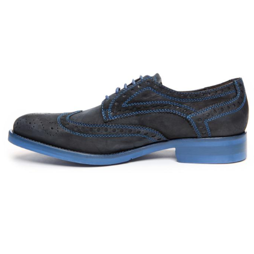 Alan Payne Buckaroo Suede Lace Up Shoes Black / Blue Sole Image