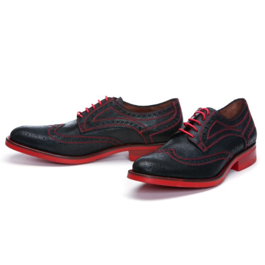 Donald J Pliner Emeri Waxy Calfskin Wing Tip Shoes Black Red Sole