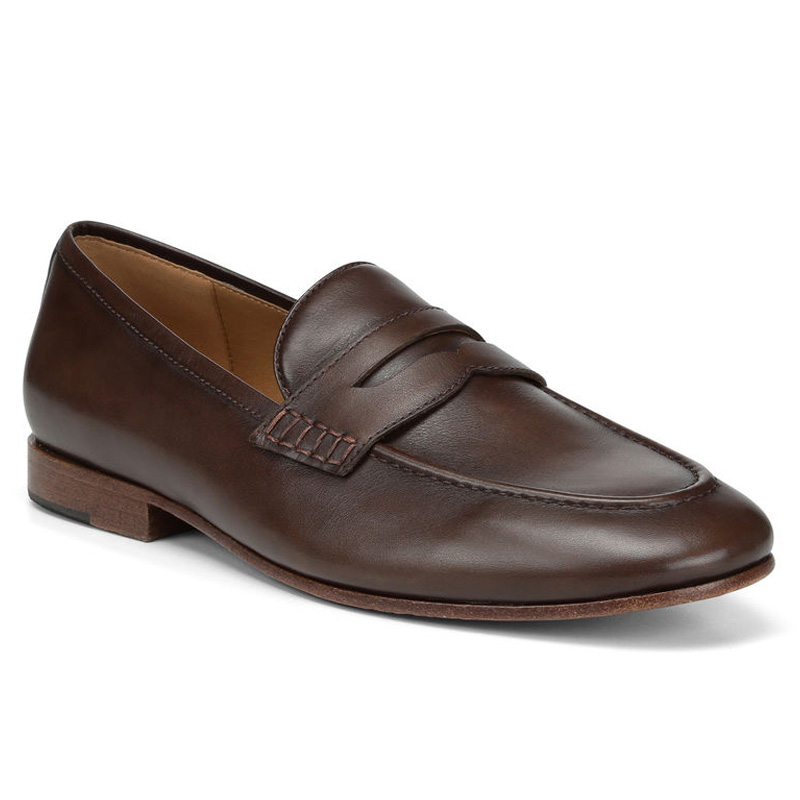 Donald Pliner Marque Calf Leather Loafer Shoe Chocolate Image
