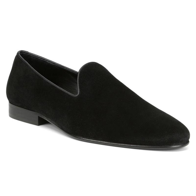 Donald Pliner Premo Suede Calf Loafer Shoe Black Image