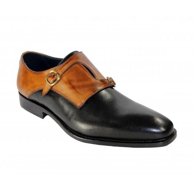 Duca by Matiste 0203 Black / Cognac Monk Strap Shoes Image