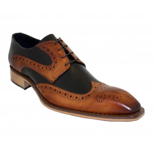 Duca by Matiste 0407 Cognac / Black Wingtip Shoes Image