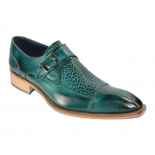 Duca by Matiste Cava Teal Monk Strap Shoes Image