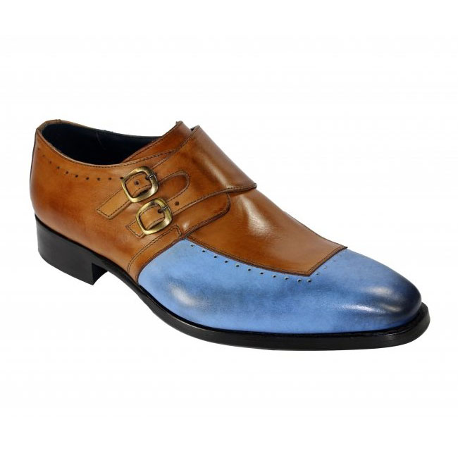 Duca by Matiste Como Light Blue / Cognac Monk Strap Shoes Image
