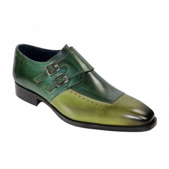 Duca by Matiste Como Olive / Green Monk Strap Shoes Image