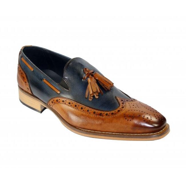 Duca by Matiste Modena Cognac / Navy Wingtip Loafers Image