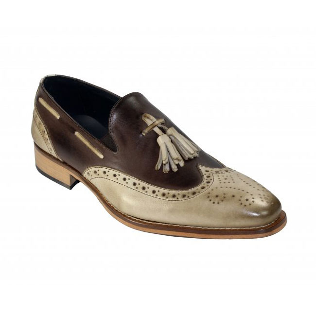 Duca by Matiste Modena Taupe / Chocolate Wingtip Loafers Image