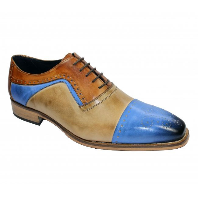 Duca by Matiste Bari Light Blue Combo Cap Toe Shoes Image