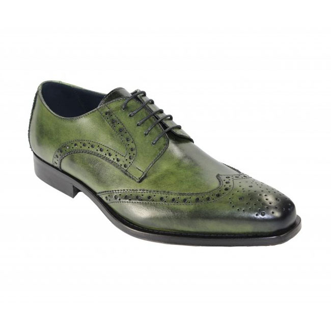 Duca by Matiste 209 Olive Wingtip Shoes Image