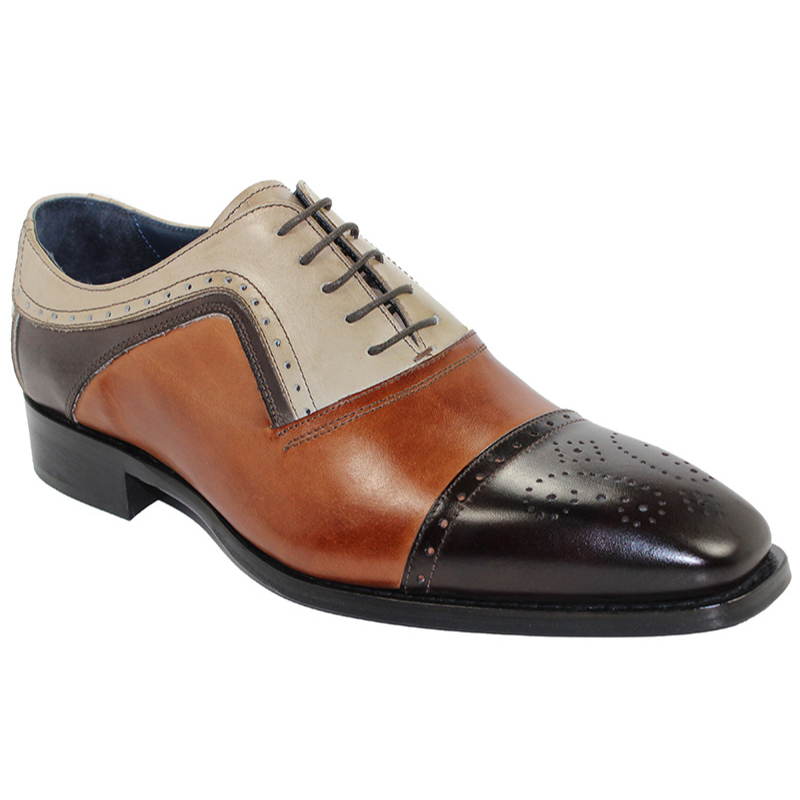 Duca by Matiste Bari Chocolate Combo Cap Toe Shoes Image