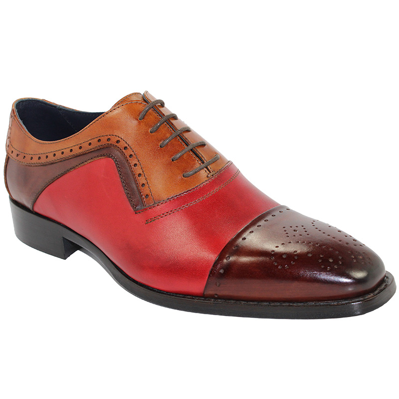 Duca by Matiste Bari Red Combo Cap Toe Shoes Image