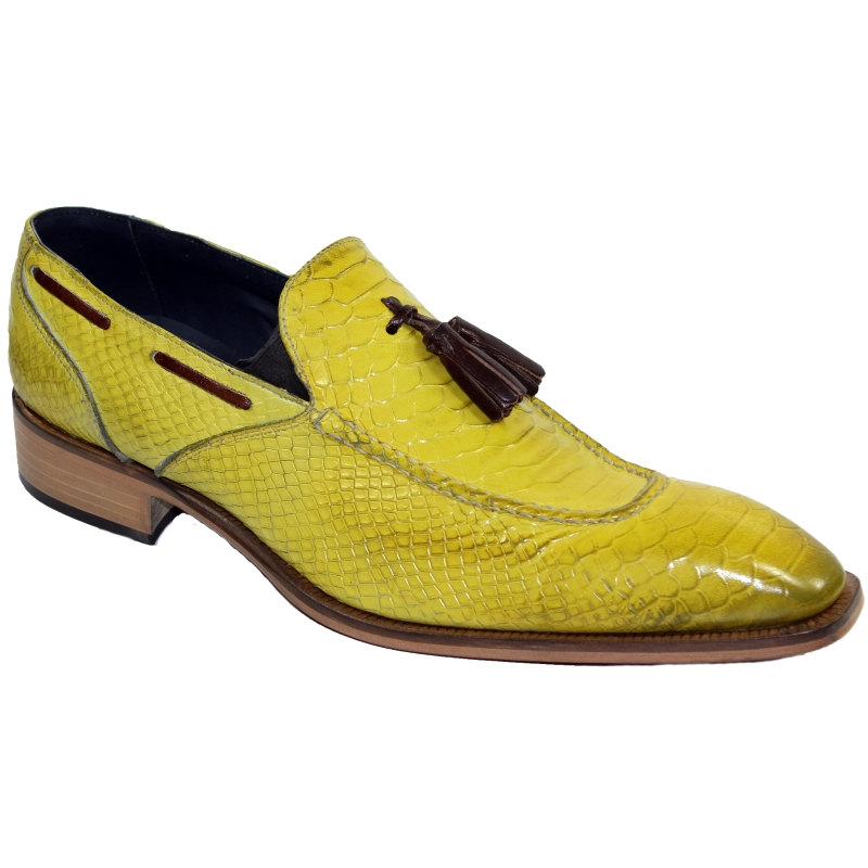 Duca by Matiste Cassino Embossed Python Tassel Loafers Yellow Image