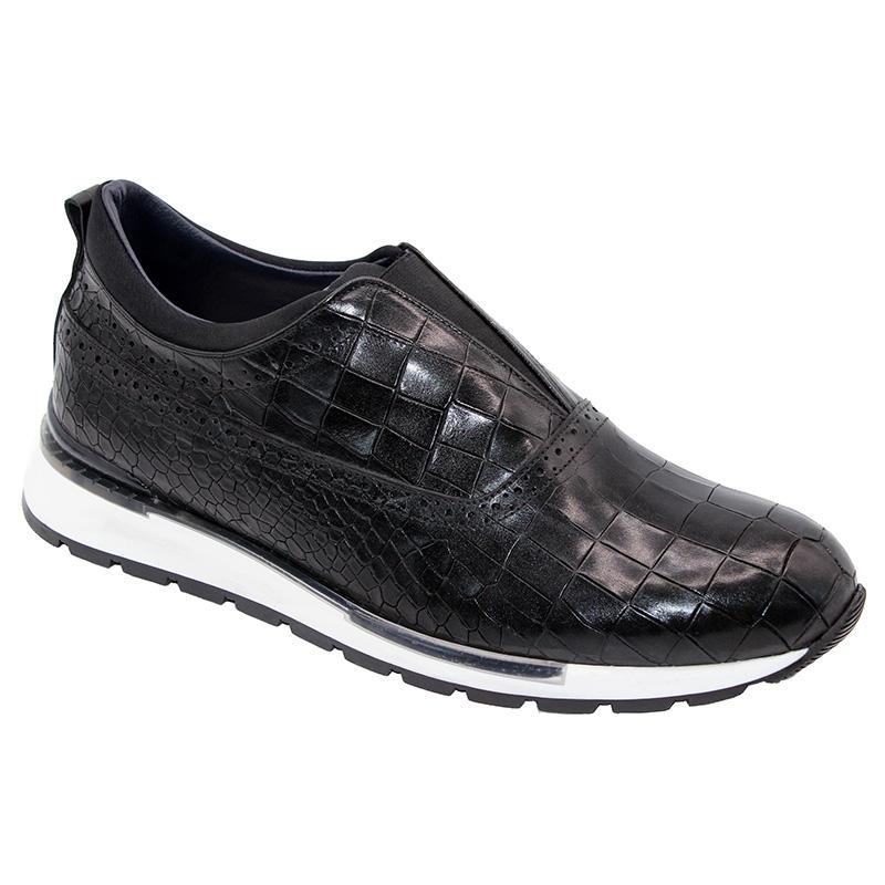 Duca by Matiste Imola Calfskin Croc Print Sneakers Black Image