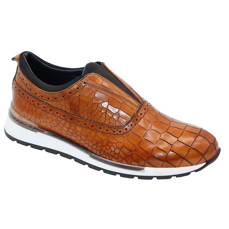 Duca by Matiste Imola Calfskin Croc Print Sneakers Cognac Image
