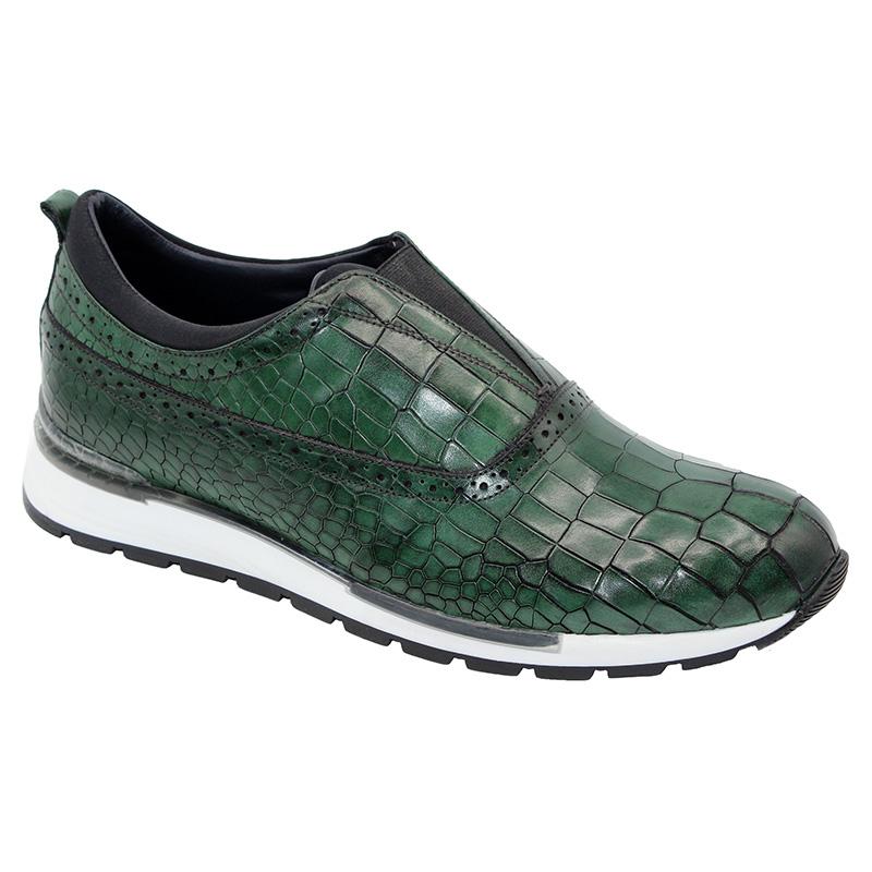 Duca by Matiste Imola Calfskin Croc Print Sneakers Green Image