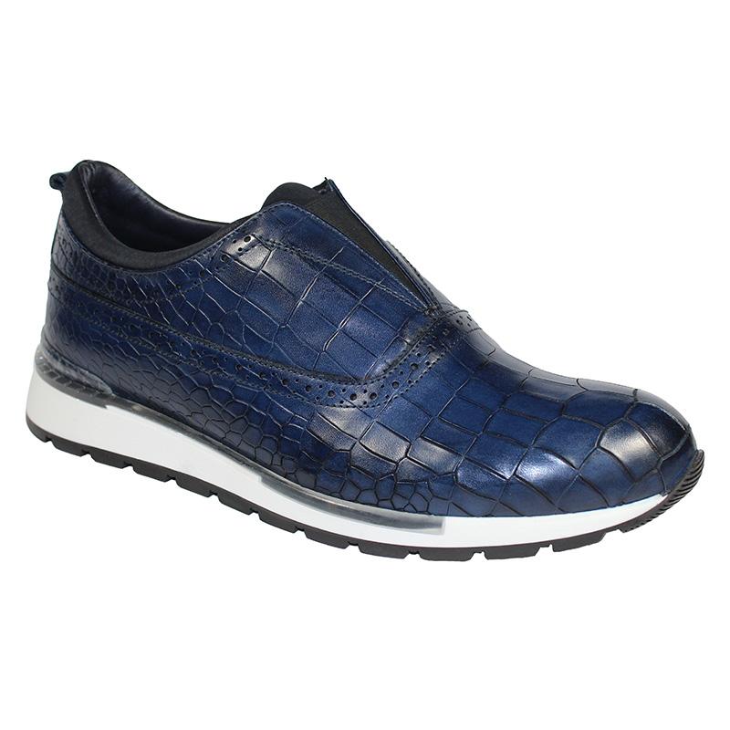 Duca by Matiste Imola Calfskin Croc Print Sneakers Navy Image