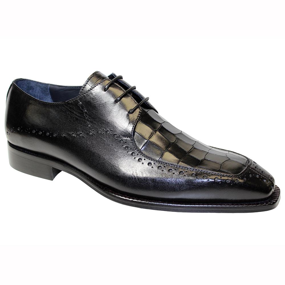 Duca by Matiste Lavinio Leather & Croc Print Shoes Black Image