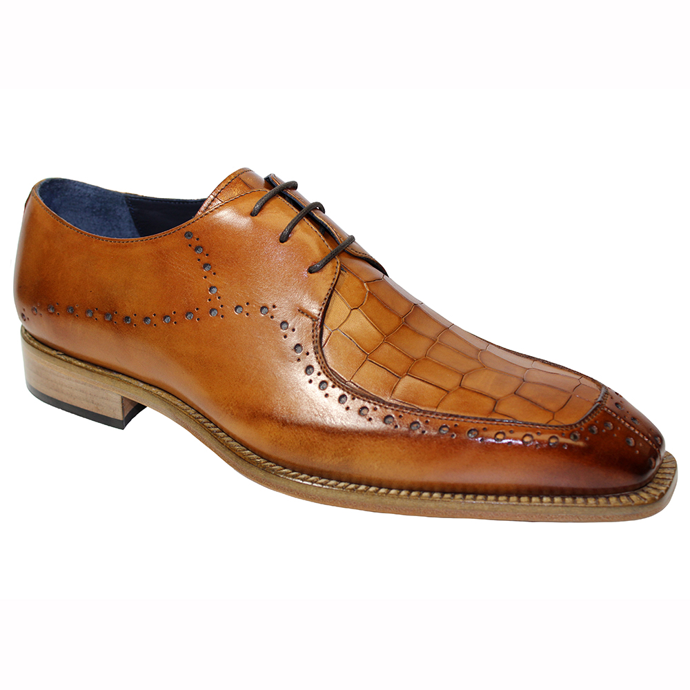 Duca by Matiste Lavinio Leather & Croc Print Shoes Cognac Image