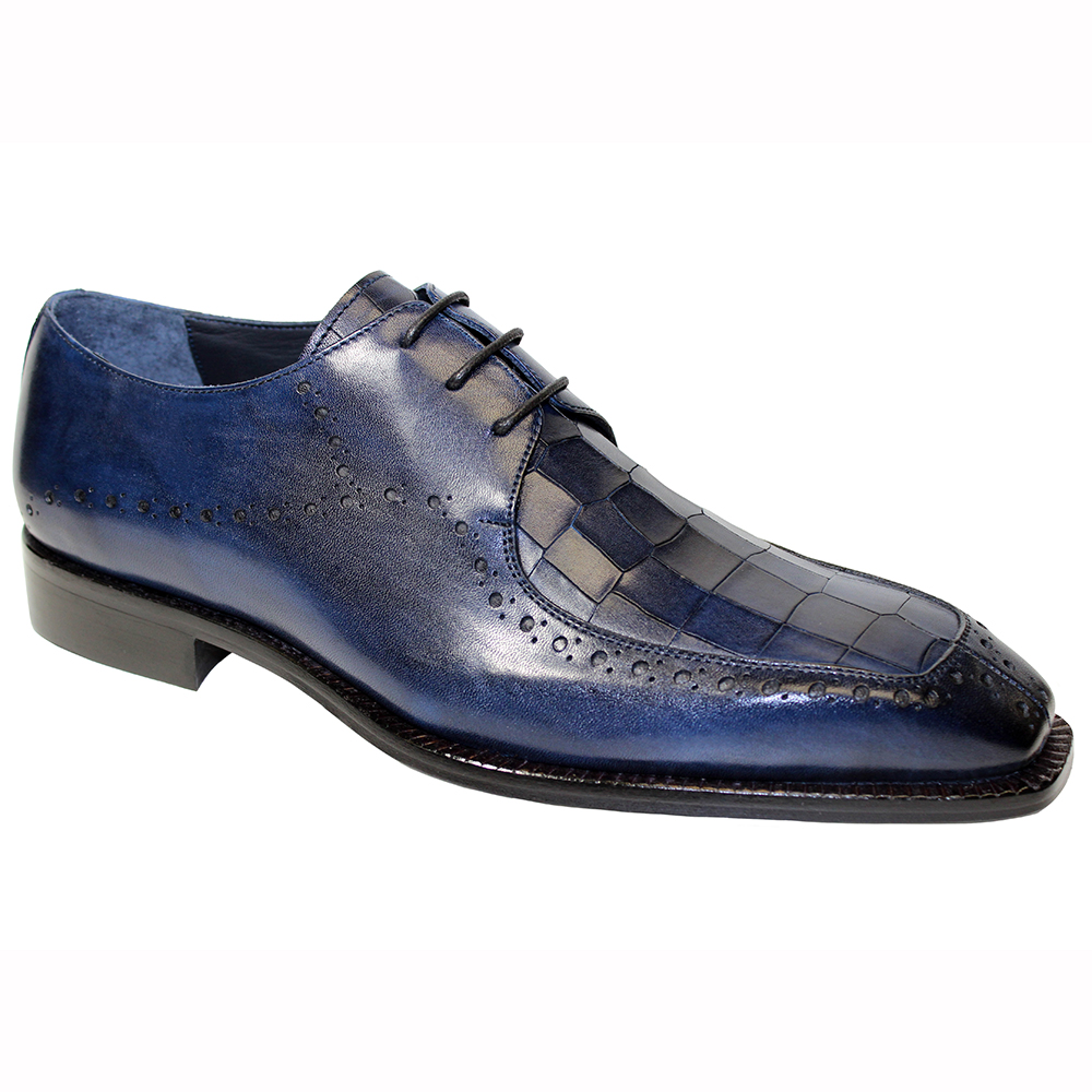 Duca by Matiste Lavinio Leather & Croc Print Shoes Navy Image