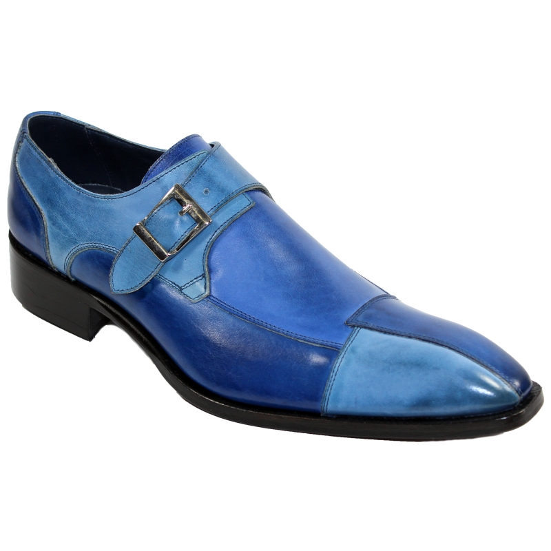 Duca by Matiste Lucca Monk Strap Shoes Blue Combo Image
