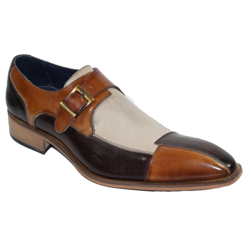 Duca by Matiste Lucca Monk Strap Shoes Chocolate Combo Image