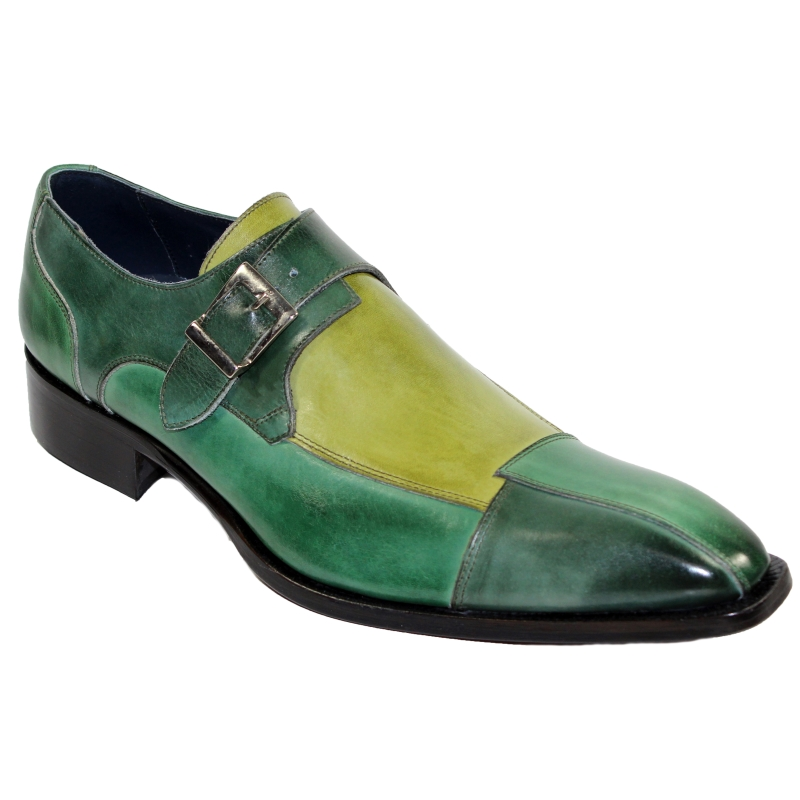 Duca by Matiste Lucca Monk Strap Shoes Green Combo Image