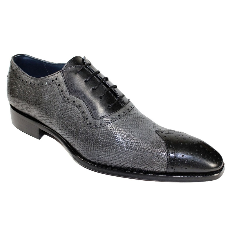 Duca by Matiste Marino Cap Toe Shoes Black / Grey Image