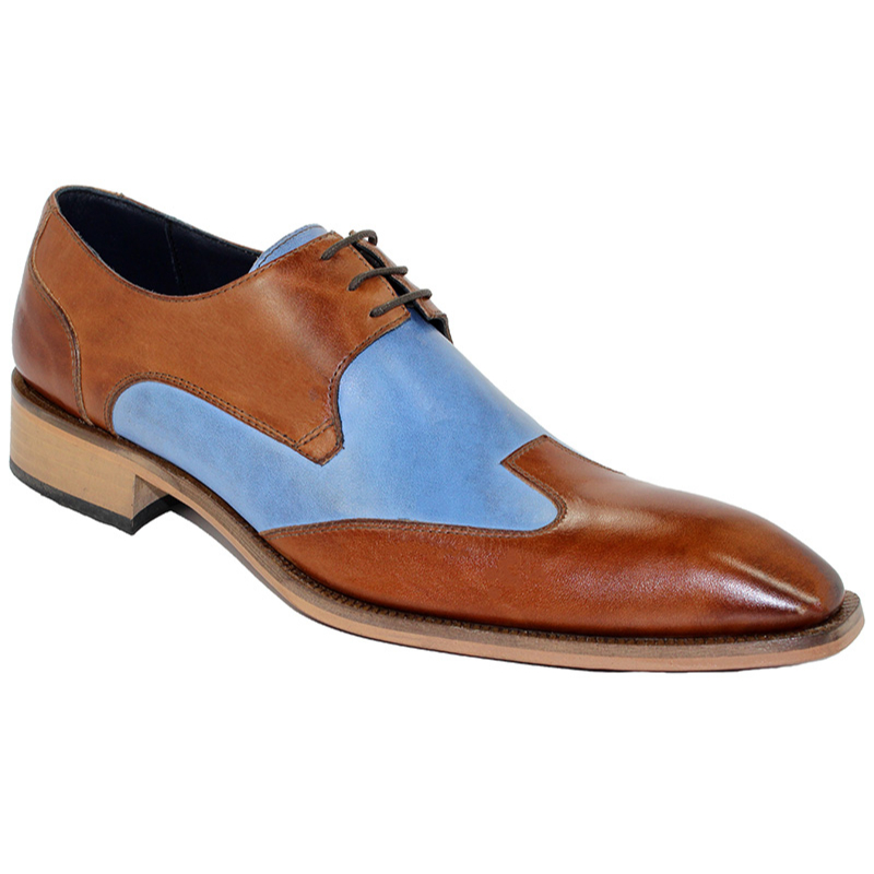 Duca by Matiste Milano Cognac/Light Blue Shoes Image